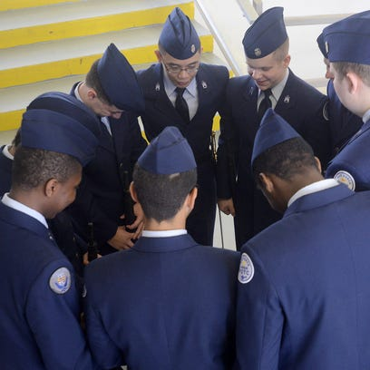 Members of the North Side High School Air Force JROTC