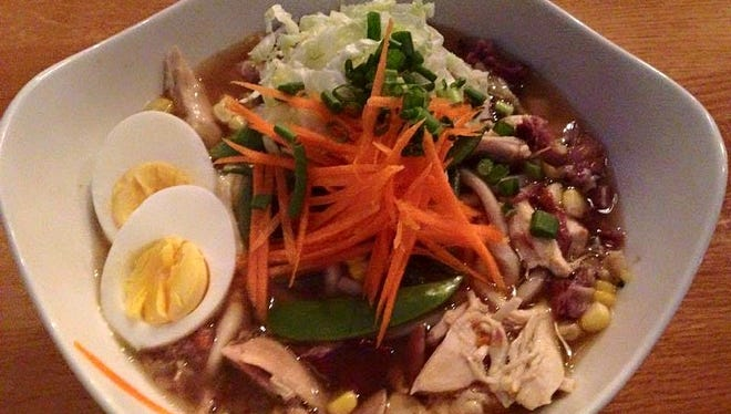 A recent chicken and vegetable ramen at Shoefly Public House. The restaurant's owners are developing Asian-themed Longbranch at Fall Creek Place.