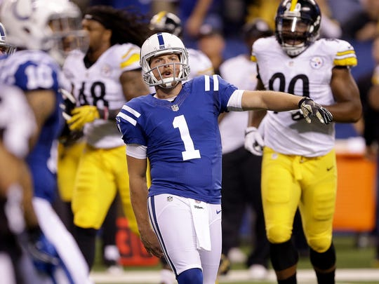 Colts punter Pat McAfee celebrated his pass to tight end Erik Swoope in the first half of the game against the Pittsburgh Steelers on Thursday.