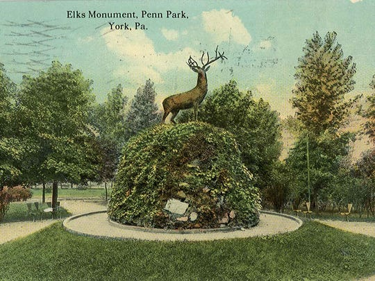 The elk statue in Penn Park as pictured on an early 1900s postcard.  The elk is long gone, but the Elks Lodge continues on and will celebrate its 125th anniversary in 2016.