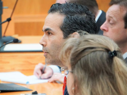 Texas General Land Office Commissioner George P. Bush speaks during a Texas Land & Resource Management Committee hearing at Corpus Christi City Hall on Wednesday, Dec. 20.