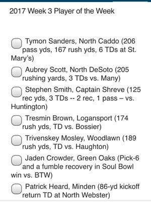 Week 3 Player of Week ballot available on The Times' Friday Night Live app.