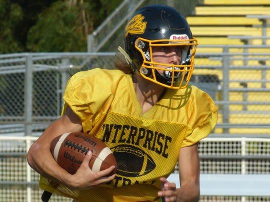Enterprise linebacker/running back Trevor Bowen practices Wednesday at EHS.