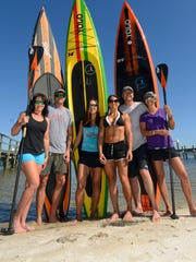 """Paddle for Cancer participants Sharon Lord, Bill Seacrest, Leah Seacrest, Ami Wight, """"Barefoot"""" Curt Davidson and Lisa Ertle on Sunday, April 9, 2017."""