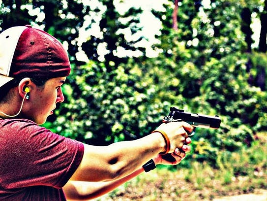 Courtney Free said she practices shooting at a range