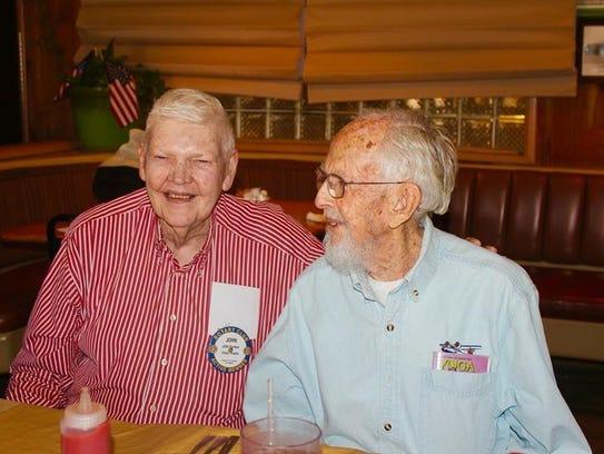 John Furbee, left, with Jack Webb at a Rotary Club