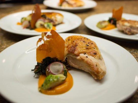 Chicken offered at a recent tasting dinner at Folie.