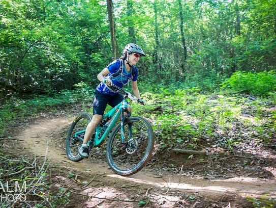 Kate Orthoefer rides a trail at Baker's Creek.