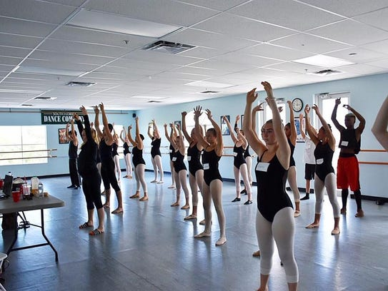 Students working with South Florida Dance Company Instructor
