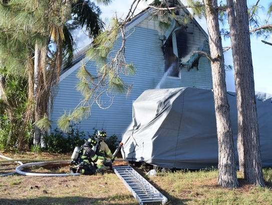 A fire in San Carlos Park has left two residents and