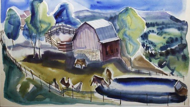 On view now: Elsie Bates Freund, Barnyard Habitat, 1950, watercolor on paper. Gift of H. Louis & Elsie Bates Freund.