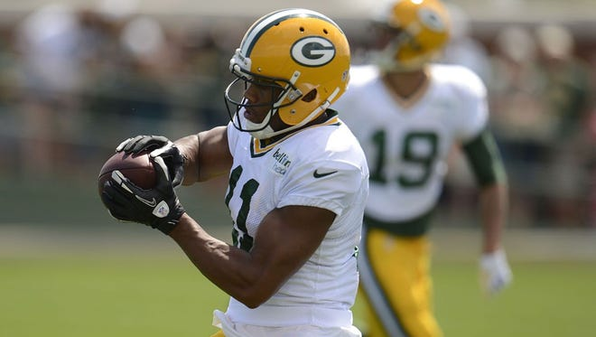 Green Bay Packers receiver Jarrett Boykin makes a catch during training camp practice at Ray Nitschke Field on Wednesday, Aug. 13, 2014.