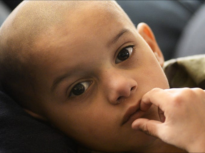 Four-year-old Diontae Smith of Port Clinton hasstage