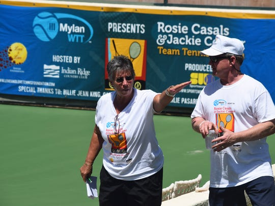 Rosie Casals directs a volunteer at the Rosie Casals & Jackie Cooper Team Tennis Pro-Am at Indian Ridge Country Club in Palm Desert on Sunday, April 23, 2017.