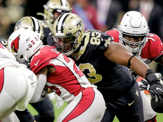 Oct 27, 2019; New Orleans, LA, USA; New Orleans Saints defensive tackle David Onyemata (93) tackles Arizona Cardinals running back Chase Edmonds (29) for a turn over on downs during the third quarter at the Mercedes-Benz Superdome. Mandatory Credit: Derick E. Hingle-USA TODAY Sports