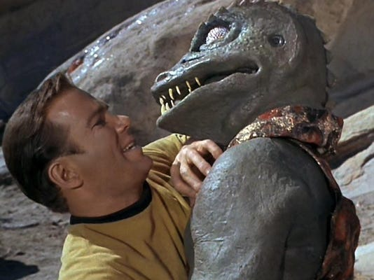 Capt. Kirk fights lizard art