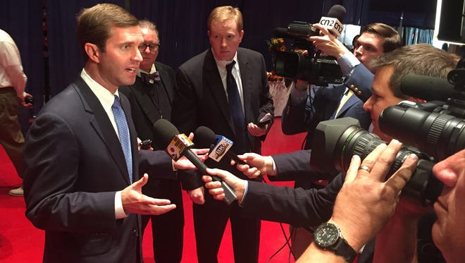Andy Beshear briefs reporters at Democratic Headquarters, Tuesday.