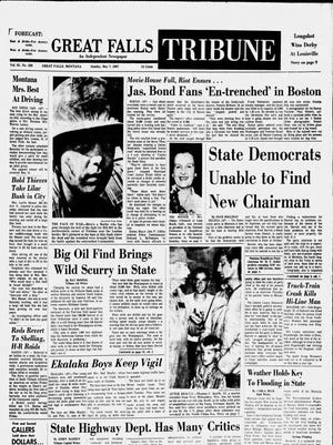 Front page of the Great Falls Tribune on Sunday, May 7, 1967.