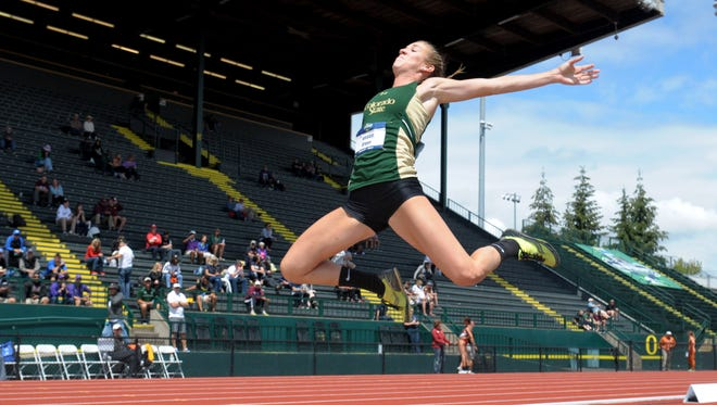 Jessica Green of CSU jumps 18-0 1/2 in the heptathlon long jump during the 2016 NCAA track and field championships at Hayward Field in Eugene, Oregon.