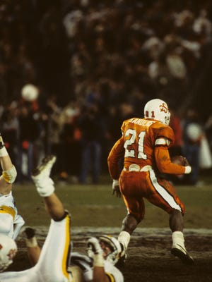 Barry Sanders rushed for 222 yards and five touchdowns in Oklahoma State's 62-14 Holiday Bowl victory over Wyoming in 1988.