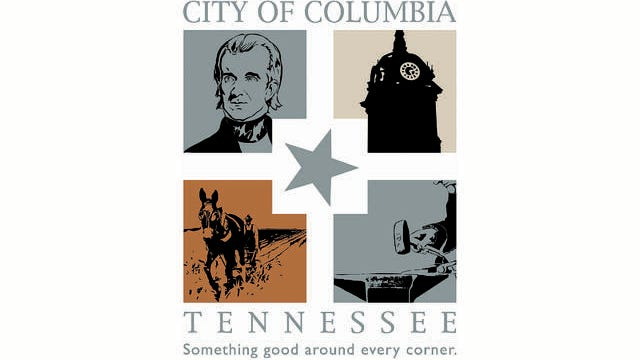 The City of Columbia logo is designed to depict the city's history, such as the Maury County Courthouse, President James K. Polk and Mule Day, produced in the image of the town's iconic downtown square.