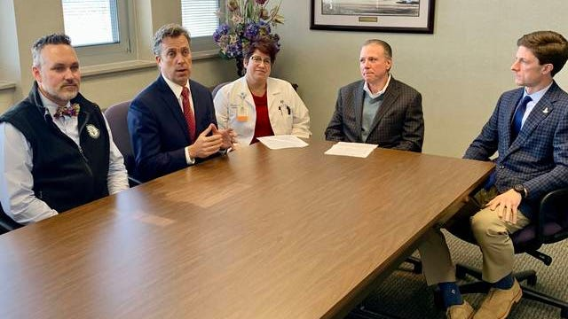 From left, Maury County Superintendent Dr. Chris Marczak, Maury County Mayor Andy Ogles, Maury Regional Infectious Disease specialist Dr. Deborah Goldsmith, Maury Regional CEO Alan Watson and Columbia Mayor Chaz Molder announce a new COVID-19 task force. The task force was announced Tuesday following the first confirmed case of the virus in Tennessee.