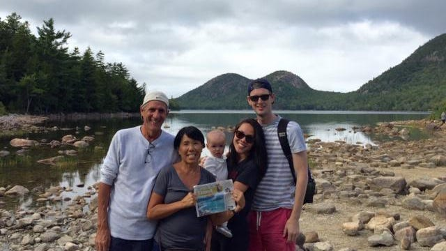 MAINE                                                                                 Jack and Gail Sauer of Columbus, and Emery, Sara and Brian Lease of Chicago visit Jordan Pond in Acadia National Park. They recommend calling in advance to enjoy the popovers at the only restaurant in the park.