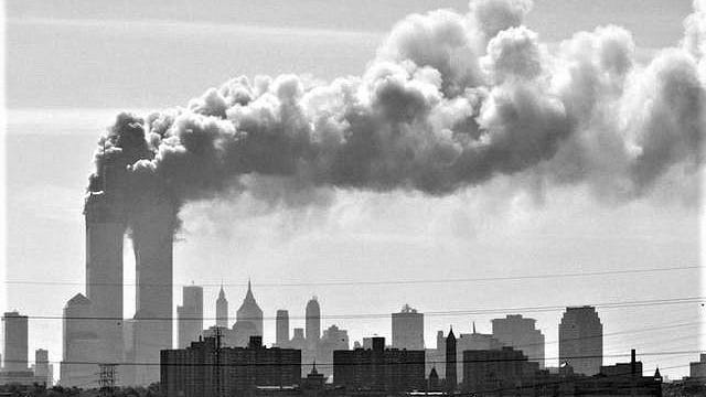New York's Twin Towers in flames in September 2001.