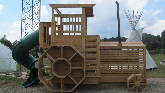 The new tractor playhouse at Apple Hill Orchards.