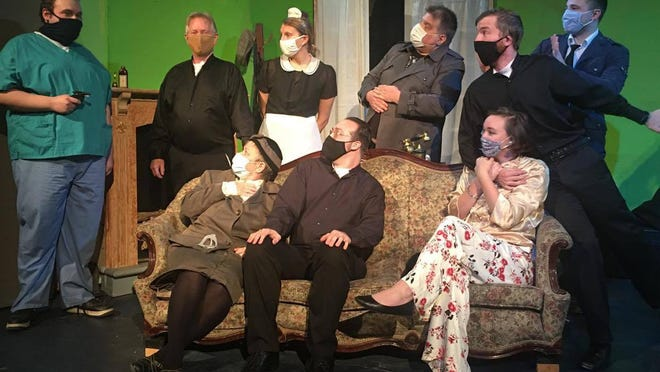 "The slapstick British farce ""See How They Run"" will be livestreamed for free on Facebook Live on Saturday, Nov. 14, at 8 p.m. Pictured are cast members (seated, l-r) Luann Lancaster, Justice Courrier, Katie Wilson, (standing) Stephen Gumtz, Adam Swayne, Ruth Jellison, Matt Armentrout, Marty Jellison, and Dakota Benvino."