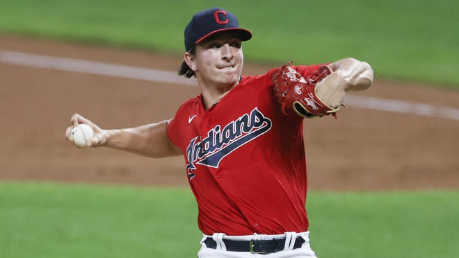 Cleveland Indians pitcher James Karinchak delivers against the Detroit Tigers during the eighth inning of a baseball game, Saturday, Aug. 22, 2020, in Cleveland. The Indians defeated the Tigers 6-1.
