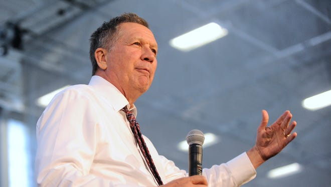 Ohio Gov. John Kasich speaks during a campaign event in Utica, N.Y., on April 15, 2016.