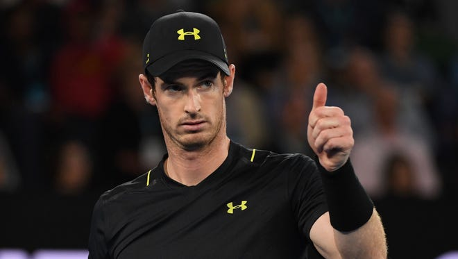 Britain's Andy Murray reacts after a point against Russia's Andrey Rublev during their men's singles match on day three of the Australian Open tennis tournament in Melbourne on Jan. 18.