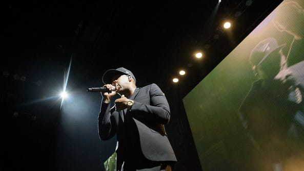 Jay Z performs during a Get Out the Vote (GOTV) performance