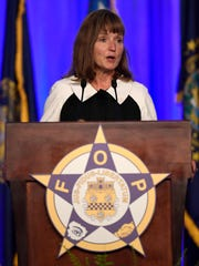 Speaker of the House Beth Harwell addresses the Fraternal Order of Police Monday, Aug. 28, 2017 at Opryland in Nashville, Tenn.