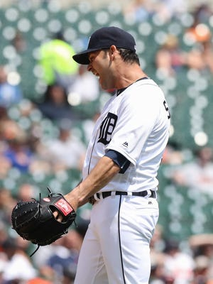 Detroit Tigers' Anibal Sanchez reacts after giving up a three-run homer to the Philadelphia Phillies' Odubel Herrera during fourth inning action on Wednesday, May 25, 2016 at Comerica Park in Detroit.