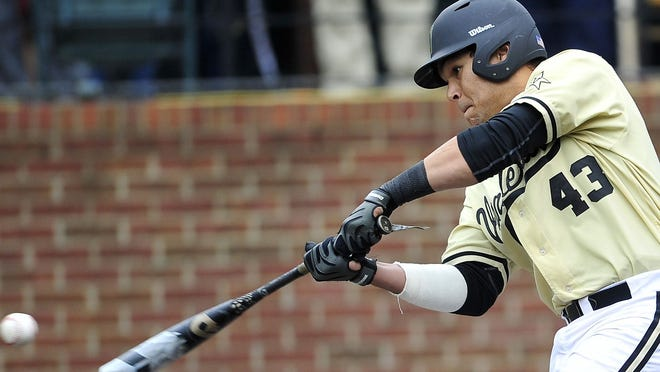Vanderbilt's Zander Wiel hits the ball against South Carolina during a SEC baseball game at Vanderbilt University's Hawkins Field in Nashville, Tenn., Saturday, May 17, 2014. South Carolina won 6-3.