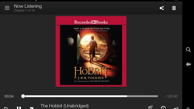 "This screen shot taken from an Kindle Fire HDX shows ""The Hobbit"" by J.R.R. Tolkien, an audiobook available through Amazon's Kindle Unlimited subscription service. The service will allow unlimited access to thousands of electronic books and audiobooks for $9.99 a month in the online giant's latest effort to attract more users."