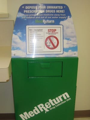The new prescription drug dropoff box at the DMV office in Canandaigua.