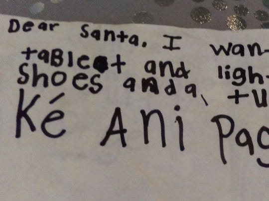 Kéani  Page of Lafayette sent her Christmas wish list to Santa by a helium-filled balloon.