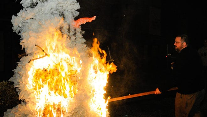 In 2008, Bockfest was almost shutdown by snowfall. In 2009, a snowman effigy was set afire in celebration. Burning a snowman has become tradition.
