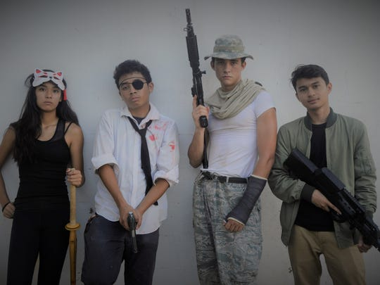 "Victoria Miller, Julan Villegas, Austin Maciel Masterson and Javen Sotomil in character for Villegas' action film ""Project Fortress."" The film was screened at the Guam International Film Festival 2017"