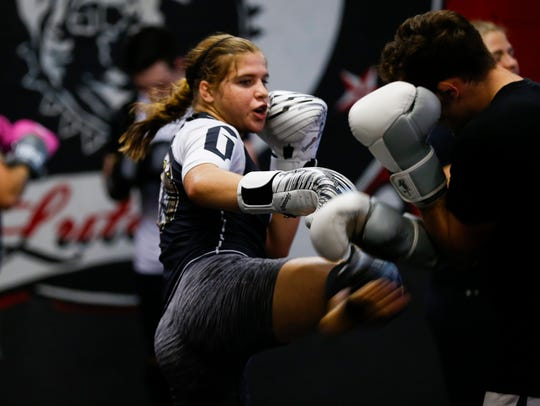 Twenty-year-old Miranda Maverick trains for MMA fighting