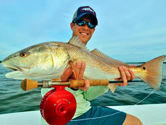 Tampa fly fisher Mike Quinn was casting a No. 4 Crazy Charlie under the mangroves in the Indian Fields area of Matlacha Pass when this 27-inch red went Crazy. He was fishing on a Wildfly Charter with Matlacha Capt. Gregg McKee.