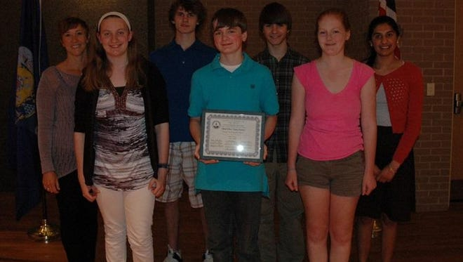 Students from Stevens Point Area Senior High School honored at the at 45th Annual Central Wisconsin Mathematics League banquet include (back row, from left) advisor Denise Etrheim, Ezra Eckerson, Trevor Niemczyk, Simran Sandhu; (front row, from left) Ashley Peper, Thomas Felt and Emma Jore.