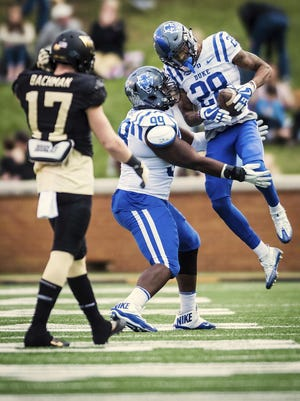 Duke cornerback Mark Gilbert (28) will play in a college football game for the first time in more than two years on Saturday when the Blue Devils travel to 10th-ranked Notre Dame to open the season.