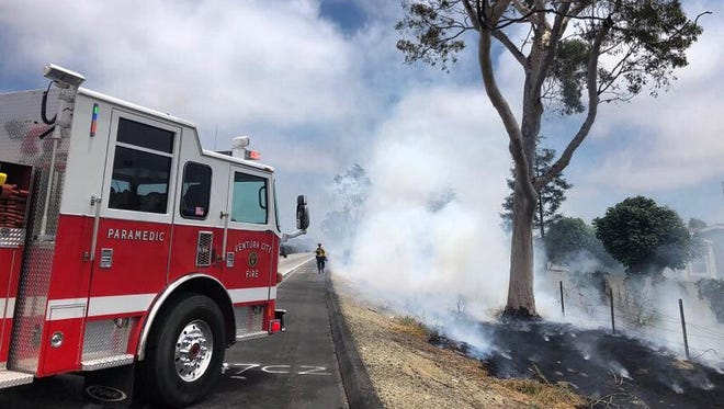 Crews were fighting a series of fires along eastbound Highway 126 Monday afternoon in Ventura.