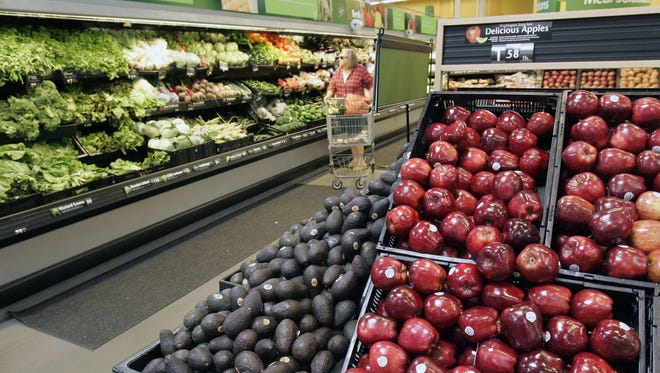 Fruits and vegetables at the store.