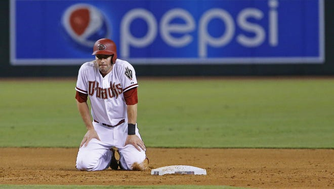 Arizona Diamondbacks center fielder A.J. Pollock (11) reacts after being forced out at second to end the 5th inning of their MLB game against the St. Louis Cardinals Monday, August 24, 2015 in Phoenix, Ariz.