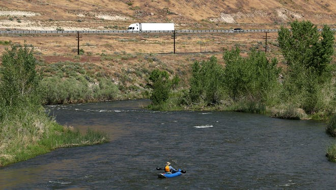 A photo showing a kayaker on the Truckee River east of Sparks, Nev., taken in May, 2016.